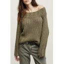 Women's off Shoulder Long Sleeve Loose Knitted Sweater