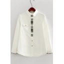 Preppy Style Plain Lapel Single Breasted Contrast Cuffs Button Down Shirt with One Pocket