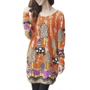 Printed Long Sleeve Round Neck Loose T-Shirt Dress