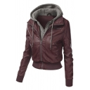 Fake Two-Piece Hooded Long Sleeve Zip Fly Leather Coat