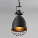 Industrial 1 Light Bell Indoor Pendant in Antique Black Finish