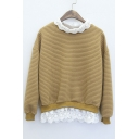 Chic Lace Patchwork Contrast Round Neck Dropped Long Sleeve Pullover Sweatshirt