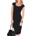 Fashion Square Neck Cap Sleeve Solid Color Women's Sexy Pencil Midi Dress