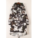 Hooded Casual High Low Hem Camouflage Print Fashion Women's Coat