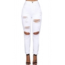 Women's Distressed Ripped Denim Pencil Jeans Stretch