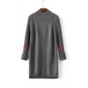 Half High Neck One Red Stripe in Long Raglan Sleeve High and Low Split Hem Maxi Sweater