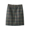 New Plaid Popper Button Zip-Front Mini Bodycon Skirt