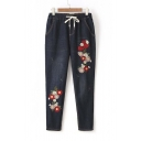New Casual Drawstring Mid Waist Embroidery Floral Pattern Jeans
