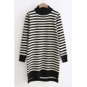 Slim Striped Contrast Trim High and Low Hem Tunic Sweater with Long Sleeve