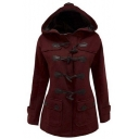 Women's Plus Size Long Sleeve Double Breasted Pea Coat Hoodie Winter Jacket