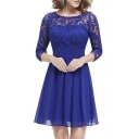 Elegant Lace Insert Floral 3/4 Length Sleeve Mini A-line Chiffon Dress