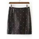 New Star Studded High Wist Zip-Back PU Mini Bodycon Skirt