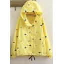Fashion Litter Tree Embroidered Zip Up Hooded Coat