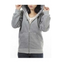 Cute Wings Back Hooded Zipper Placket Hoodie with Two Pockets
