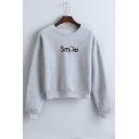 Smile Letter Embroidery Round Neck Short Sweatshirt with Drop Sleeve in Gray/Black/Pink