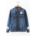 New Arrival Fashion Floral Embroidery Lapel Denim Jacket Coat