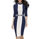 Women's Formal Half High Collar Optical Illusion Business Slim Pencil Dress