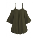 Sexy Cold Shoulder Dolman Sleeve Solid Oversize T-Shirt