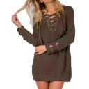 Women's Lace Up Front V Neck Long Sleeve Knit Sweater Dress Top