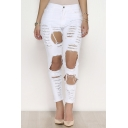 Women's Ripped Washed Boyfriend Denim Trousers Jeans