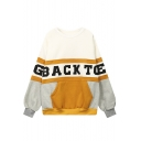 Pullover Oversize Round Neck Long Sleeve Letter Color Block Students' Sweatshirt