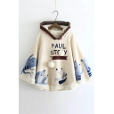Mori Girl Style Loose Cute Cartoon Print Wool Cape Hoodie