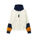 Botanical Embroidery Color Block Long Sleeve Casual Women's Hoodie