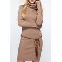 Slim Fashion High Neck Plain Midi Sweater Dress with Long Sleeve