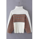 Stylish Striped Color Block High Neck Long Sleeve Sweater