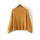 New Style Half High Neck Dropped Lantern Long Sleeve Sweater