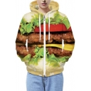 Unisex Huge Hamburger Print Long Sleeve Zip Up Hoodie