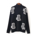 New Stylish High Neck Cactus Pattern Dropped Long Sleeve Sweater