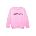 CRY BABY Letter Print Pullover Sweatshirt with Round Neck Long Sleeve