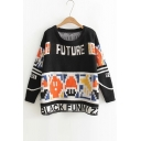 New Graffiti Letter Pattern Color Block Sweater with Round Neck Long Sleeve
