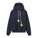 New Sad Face Drawstring Hooded Long Raglan Sleeve Hoodie with One Kangaroo Pocket