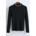 Fashion Contrast Trim Mock Neck Long Sleeve Slim Sweater