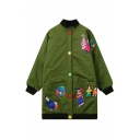Contrast Trim Cartoon Panel Colorful Single Breasted Stand-Up Collar Tunic Coat