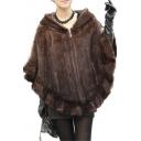Women's Real Mink Fur Zipper Cape Cloak Poncho Shawl With Hooded