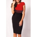 Women Short Sleeve Lace Slim Bodycon Pencil OL Mini Dress