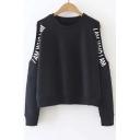 Round Neck Cold Shoulder Letter Print Sweatshirt