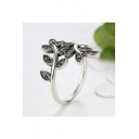 Retro Exquisite Silver Ring with Olive Branch