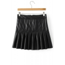 Zip Back Pleated Fashion PU Leather Mini Skirt