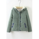 Plain Panel Hooded Zipper Single Breasted Long Sleeve Fur Coat