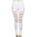 Women Casual Destroyed Ripped Distressed Skinny Denim Jeans