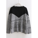 Preppy Style Color Block Loose Round Neck Long Sleeve Knitted Women's Sweater