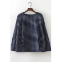 Round Neck Buttons Shoulder Letter Embroidery Plaid Blouse