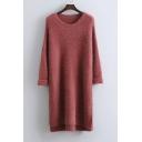 Loose Pullover Plain Long Sleeve High Low Hem Knit Sweater Midi Dress