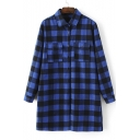 Women's Fashion Plaid Lapel Tunic Shirt with Two Pockets