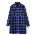 Women's Fashion Plaid Lapel Tunic Shirt with Two Pockets