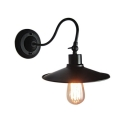 Saucer Shade Industrial Rotatable Black Wall Sconce With 18.8 Inch Depth